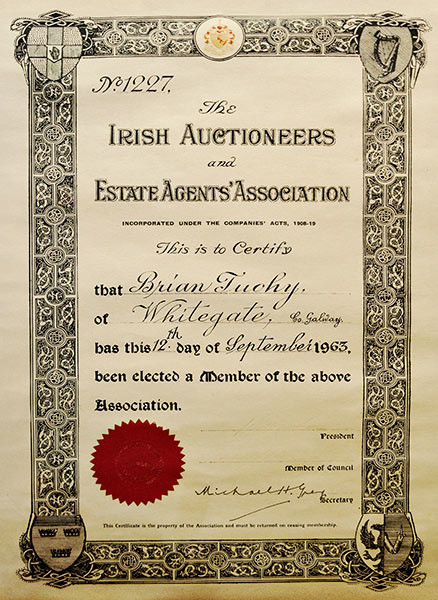 The Irish Auctioneers Estate-Agents Association Certificate
