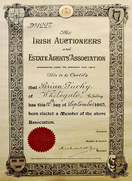 The Irish Auctioneers Estate-Agents Association Certificate